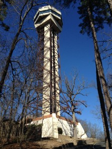 The Hot Springs Mountain Tower shoots up over 300 feet into the sky AFTER you reach the top of the mountain. We bought our tickets and trekked up the stairs to see the view from above. Since I don't like heights, I was a whiny baby the whole way up. I ultimately had to suffer my anxiety in silence because Mike finally had to tell me to pull myself together and suck it up! He's so supportive.