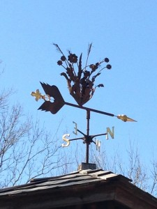I visited the Wichita Botanical Gardens before spring has sprung. It was a lovely facility and I could imagine the magnificence during my time there. Since the spring blooms were still shy, I found this precious wind vane.