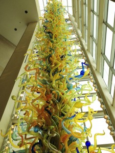 A giant Chihuly sculpture in the lobby of the museum.