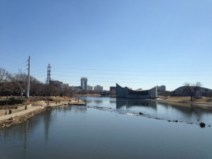 Looking at the northern skyline of downtown Wichita, from the banks of the ArKANSAS River.