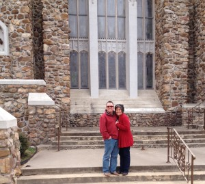 Mike and Dina in front of the church where his parents married more than 53 years ago.