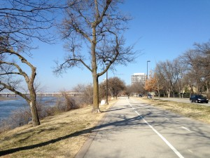 There is a nice walking/biking trail along the Arkansas River in Tulsa. Starts near downtown and moves out toward the suburbs.