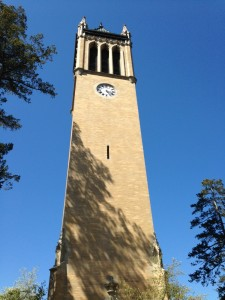 The Campanile at Iowa State University has carillon bells that ring daily. It is one of the centerpieces of the pretty campus.