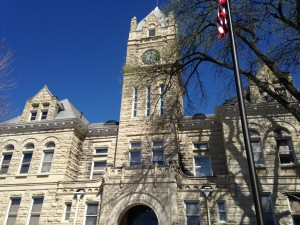 "The courthouse in Manhattan, Kansas. The ""Little Apple"" is home to Kansas State University. This stone must be indigenous to the region, because several public and university buildings are built from the same materials."