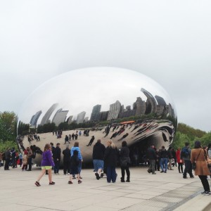 A reflection of Michigan Avenue in 'The Bean'.