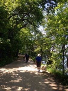 The University of Wisconsin campus has a beautiful walking trail along the lake.