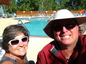 A selfie by the pool at our campground.