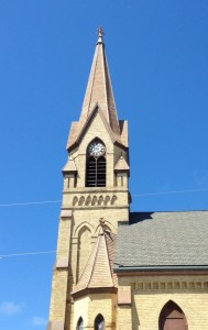 "A local guy said this steeple in downtown Two Rivers was featured in the movie ""Back to the Future"". Not sure if I'm buying it... but it was a very pretty church."