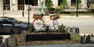 Some public landscaping art in downtown Milwaukee.