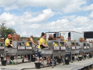 This was the cooking station in back of the Brats Tent at Brat Fest. Outside of the tent they had an electronic billboard flashing the number of brats sold since the beginning of the festival. When we were there on Memorial Day, it was up to 130,750.