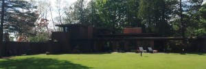 "The back of the Frank Lloyd Wright House, ""Still Bend"", that I didn't even know I was going to get to see before we arrived in Two Rivers."