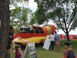 We didn't want to stand in line for a photo with the Wiener Mobile, so we just snapped a shot of another family getting ready to pose.