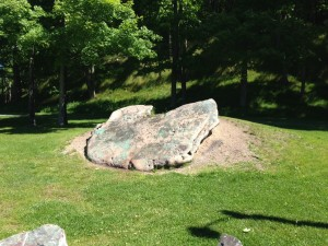 World's largest glacial copper. Weighs in at 28.2 tons. A sign next to it implores visitors and locals to support the campaign to preserve this massive rock for public display.