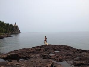 Dina and Cessna exploring the Split Rock Harbor.