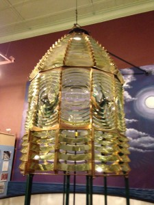 A lighthouse lense in the Marquette Maritime Museum.
