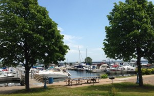 The marina at the edge of downtown Marquette.
