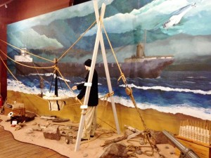 One of the exhibits in the Maritime Museum illustrated how the coast guard rescued crew members from ships that  wrecked just off the coastline.