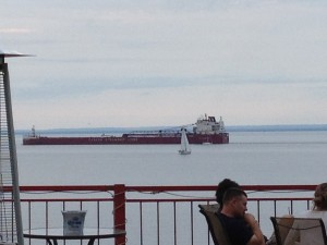 Our view from the patio at Midi's Restaurant in the historic Fitger's complex on the east end of downtown Duluth.