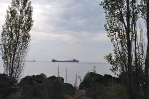 A ship leaving the Ore Docks.