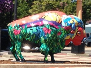 Downtown Fargo has brightly painted bison sculptures placed at different spots all around the central business district.