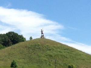 A Viking Statue on top of a pyramid shaped hill (is the perfect shape of the hill a natural coincidence, or was the mount created by Indians from civilizations past? (The debate rages on).