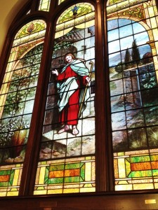 Some of the beautiful stained glass inside the historic United Methodist Church.