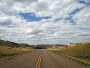 The only road leaving Medora to the south.