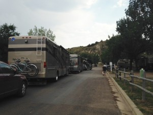 As we returned from an afternoon walk, NINE coaches from a caravan were all arriving to check in at the campground.