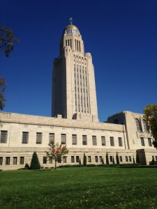 The Nebraska State Capitol. Constructed between 1922 and 1932, it is home to the only non-partisan one-house legislature in the United States.