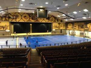 While we were in town, there was a National Indoor Bull Riding Competition at the Corn Palace. This photo was taken after the event, they are cleaning the floors after they were covered in dirt. All of murals on the walls are also made of corn and change each year!