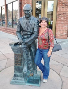 Rapid City is known as the City of Presidents. On each corner in their downtown sits a bronze statue of one of our U.S. Presidents. I thought it would be fun to find the statues of the presidents who were in office when we were born and take our pictures with them. Here I am with fellow Texan LBJ.