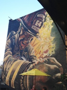 There were two beautiful murals on the walls of an outside patio at Firehouse Brewing Company in downtown Rapid City. This one was the most vibrant.