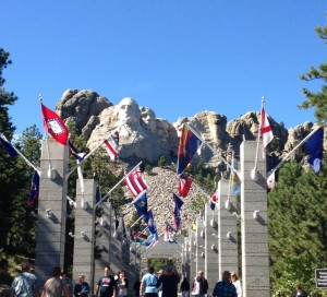 On the way to the best viewing platform at the base of Mount Rushmore, visitors get to walk through an archway of all of the state flags. Very festive.