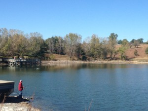 Fishing on CenturyLink Lake at Mahoney State Park.