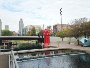 I didn't know Omaha had a canal running through its downtown until we stumbled upon it. Lots of nice public art in the area too.