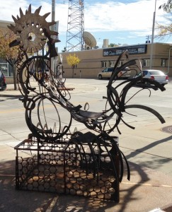 Downtown Sioux Falls has lots of public art sculptures placed randomly along the sidewalks and other public spaces.