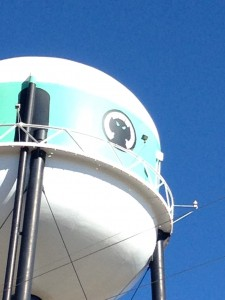 We would like to honor the City of Ogallala with an award from The Lower 48 in 48 Tour. Wackiest Water Tower. The municipal water tower had the picture of an alien painted on four sides. At night it had flashing red and white lights around the base the container - about the bottom of the blue stripe. There was also a flashing red light on the top of the Tower. It lit up at dusk each night. (I looked online and learned that it is actually painted to be a UFO, those are port holes the aliens are peering out of. The lights are landing lights for the space ship. Of course).