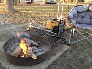 We had a heavy-duty fire pit at our spot. It came in handy as the night time temperatures started dipping with the passing days of November.