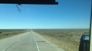 Our drive on I-76 from western Nebraska to Denver, Colorado. The Rocky Mountains were just starting to come into view way out in the distance.