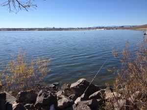 Fishing for trout at Cherry Creek State Park in Aurora, Colorado.