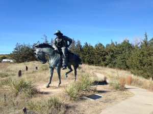 This bronze statue is called The Trail Boss. It is a tribute to the courageous men who came up the Texas Trail and recognizes the roll the trail drives played in establishing the beef cattle industry in the northern plains.