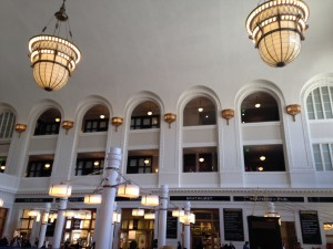 Inside Union Station. The doors behind the arches on the top two floors are individual hotel rooms.