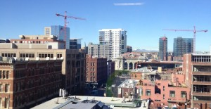 The view from my friend Janet's office. Denver is booming right now, in case you didn't notice all of the cranes dotting the skyline.