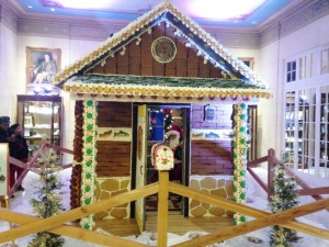 A full-size gingerbread house inside the Broadmoor Hotel.
