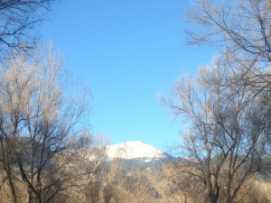 Pike's Peak in its morning glory from our campground.