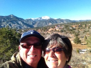 A selfie from one of our daily walks with Pike's Peak in the background. The Utes called it Tava (Sun).