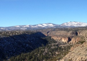 A view of Frijoles Canyon at Bandelier National Monument.