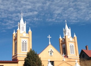The spires of San Felipe de Neri Church on the Plaza in Old Town Albuquerque.