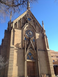 The exterior of the famous Loretto Chapel near the Santa Fe Plaza. It was once a Catholic Church, and is now a museum and wedding chapel.