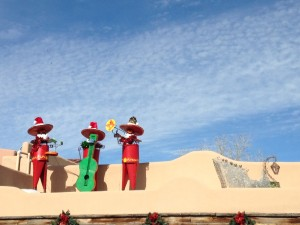 Cute Christmas mariachis on a restaurant roof top in Old Town Albuquerque.